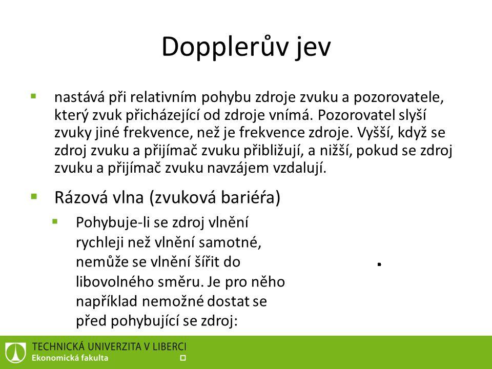 Dopplerův jev Rázová vlna (zvuková bariéŕa)