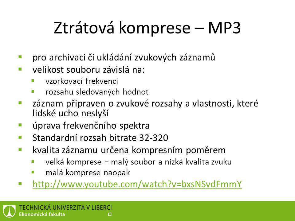 Ztrátová komprese – MP3 pro archivaci či ukládání zvukových záznamů