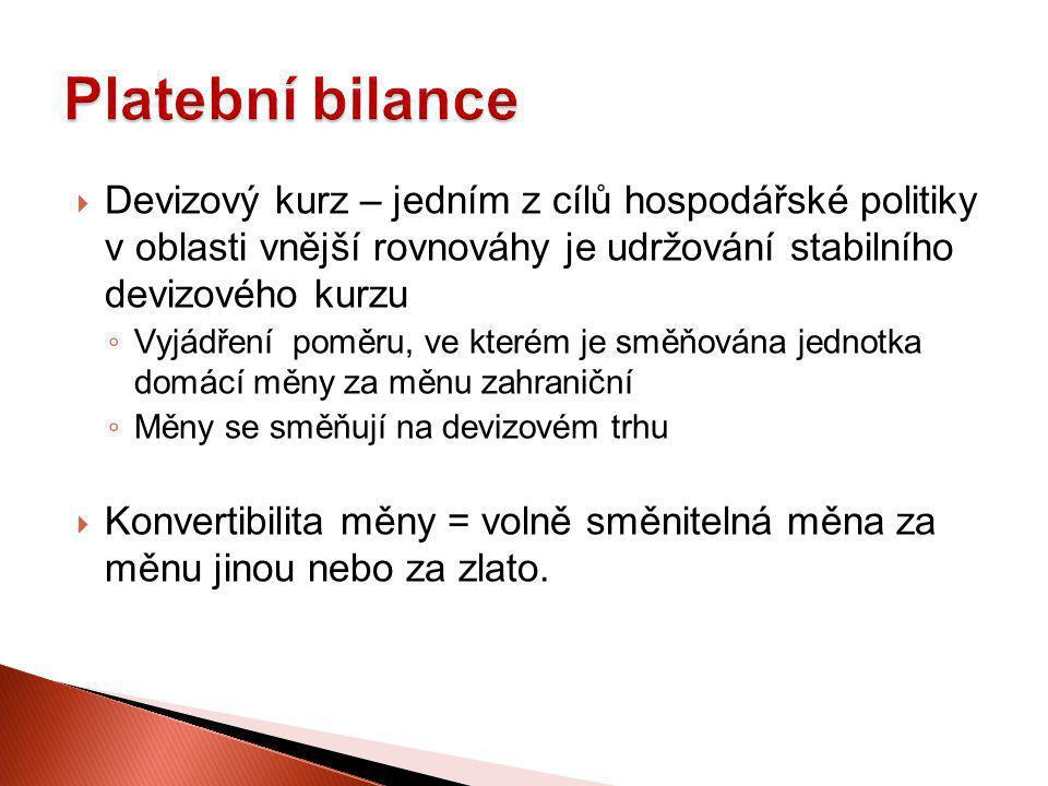 Platební bilance Devizový kurz – jedním z cílů hospodářské politiky v oblasti vnější rovnováhy je udržování stabilního devizového kurzu.