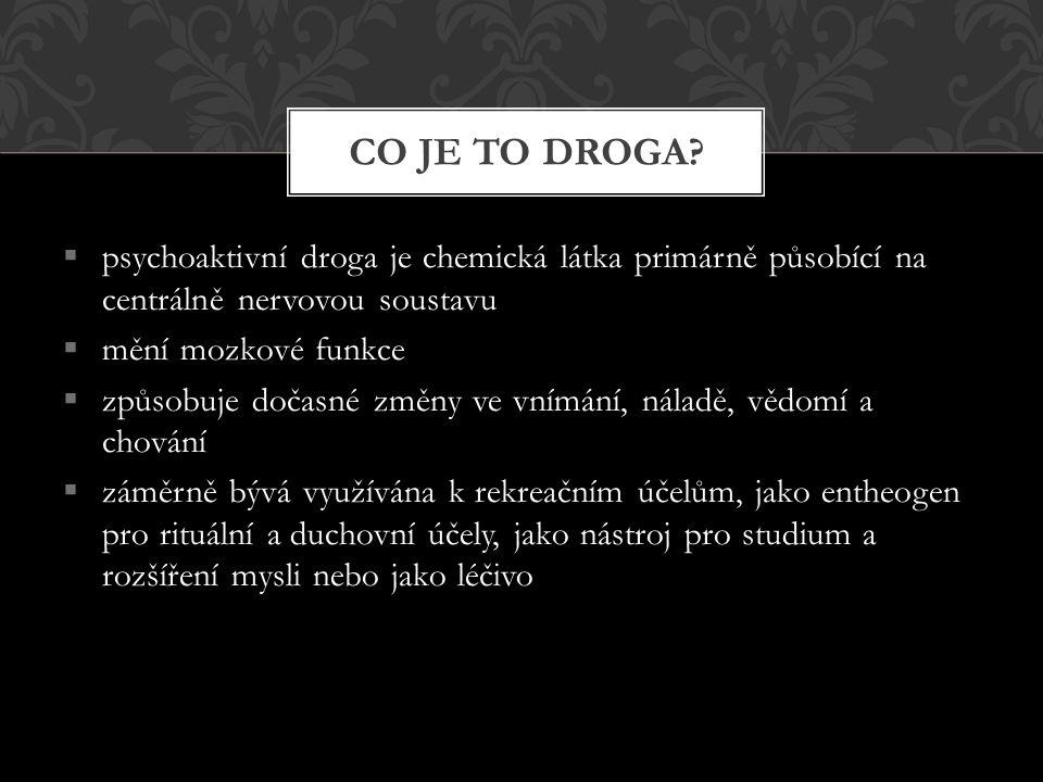 CO JE TO DROGA psychoaktivní droga je chemická látka primárně působící na centrálně nervovou soustavu.