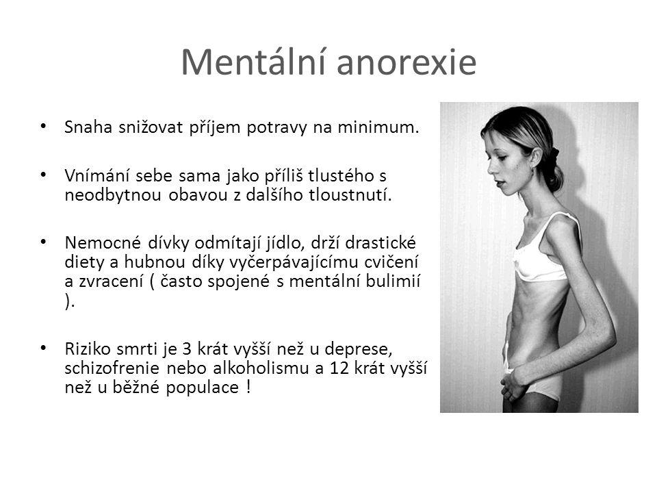 Mentální anorexie Snaha snižovat příjem potravy na minimum.