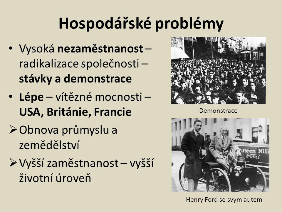 Hospodářské problémy Vysoká nezaměstnanost – radikalizace společnosti – stávky a demonstrace. Lépe – vítězné mocnosti – USA, Británie, Francie.