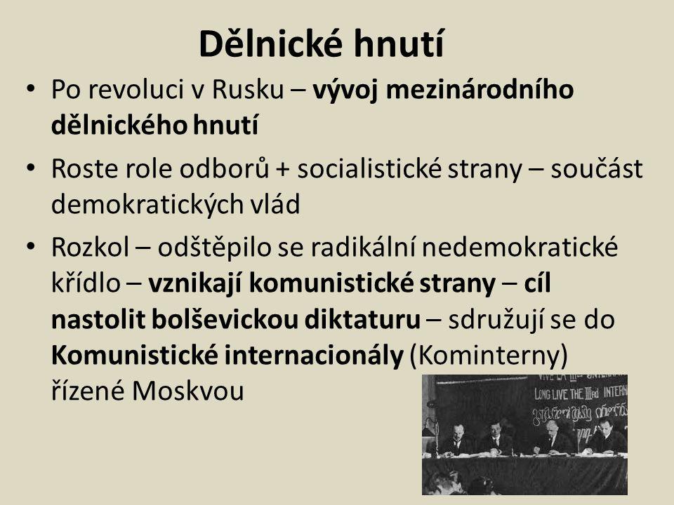 Dělnické hnutí Po revoluci v Rusku – vývoj mezinárodního dělnického hnutí. Roste role odborů + socialistické strany – součást demokratických vlád.