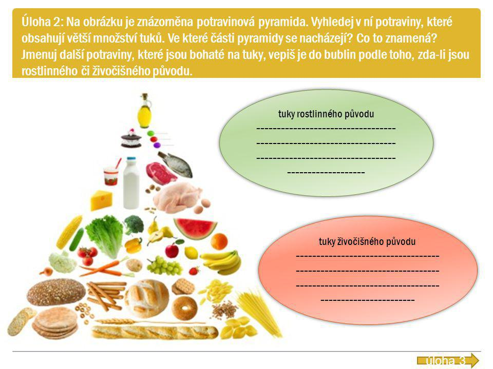 Úloha 2: Na obrázku je znázorněna potravinová pyramida