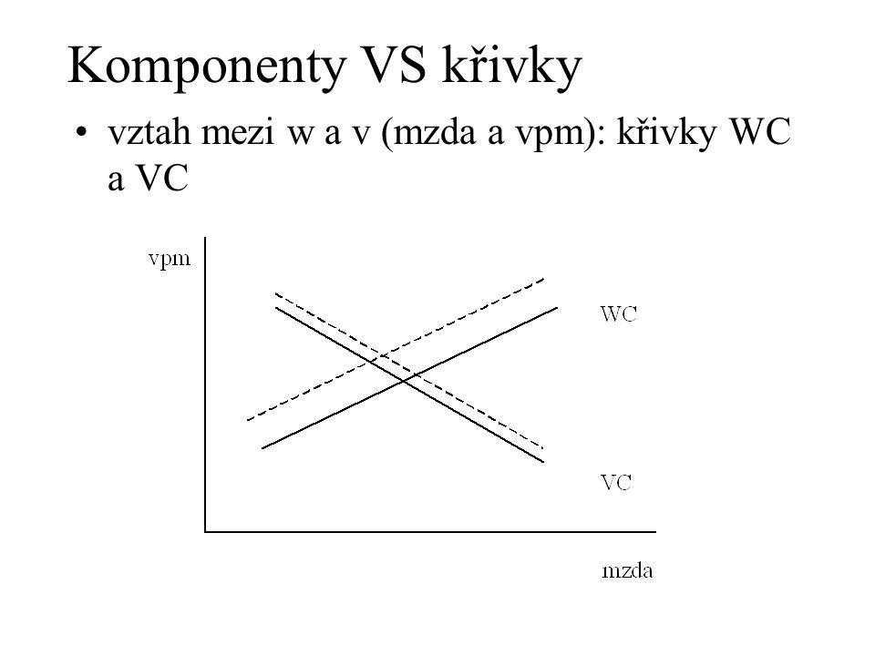 Komponenty VS křivky vztah mezi w a v (mzda a vpm): křivky WC a VC