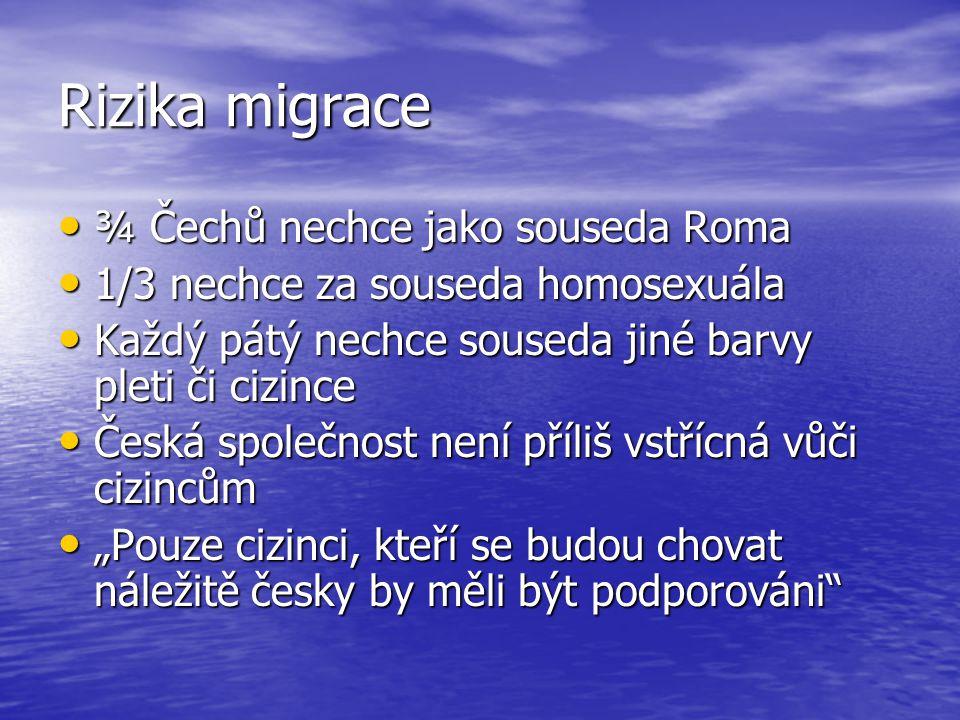 Rizika migrace ¾ Čechů nechce jako souseda Roma