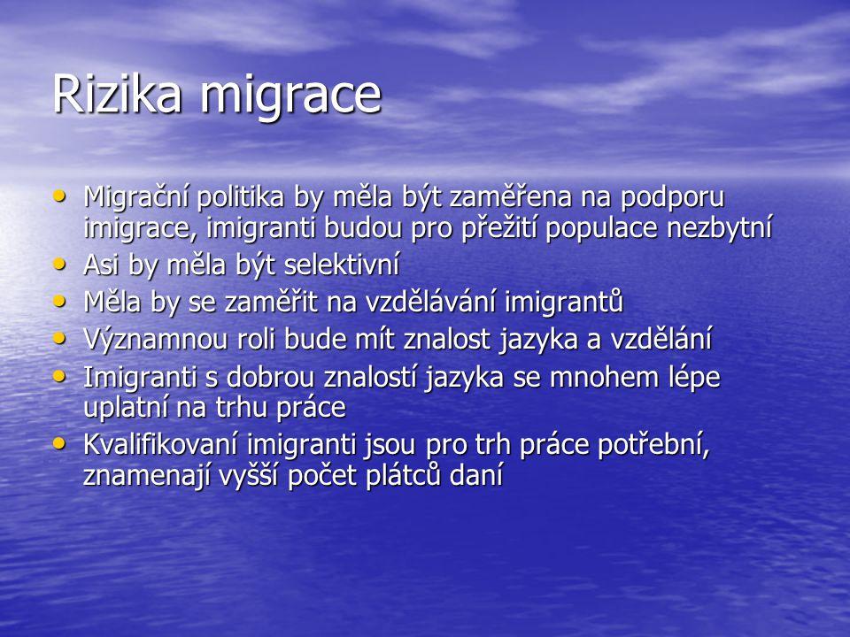 Rizika migrace Migrační politika by měla být zaměřena na podporu imigrace, imigranti budou pro přežití populace nezbytní.