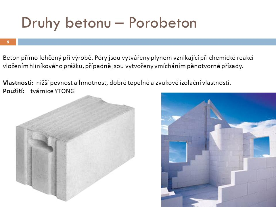 Druhy betonu – Porobeton