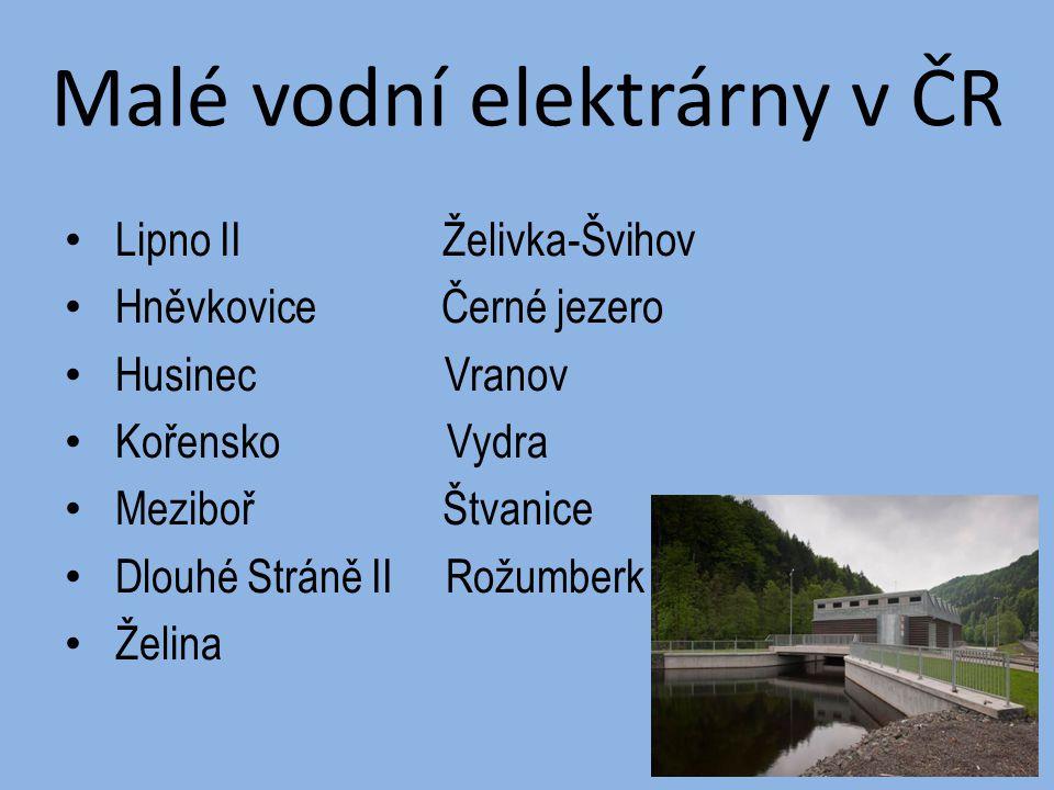 Malé vodní elektrárny v ČR