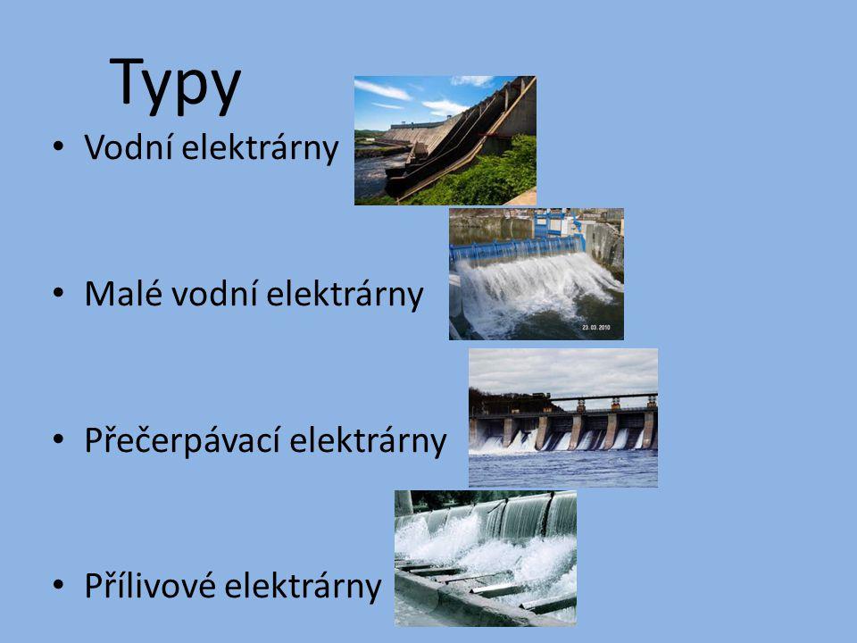 Typy Vodní elektrárny Malé vodní elektrárny Přečerpávací elektrárny