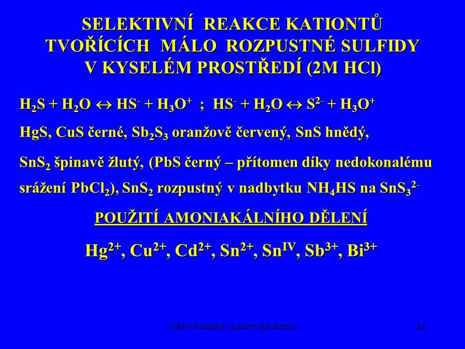 POUŽITÍ AMONIAKÁLNÍHO DĚLENÍ Hg2+, Cu2+, Cd2+, Sn2+, SnIV, Sb3+, Bi3+