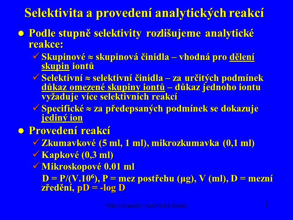 Selektivita a provedení analytických reakcí