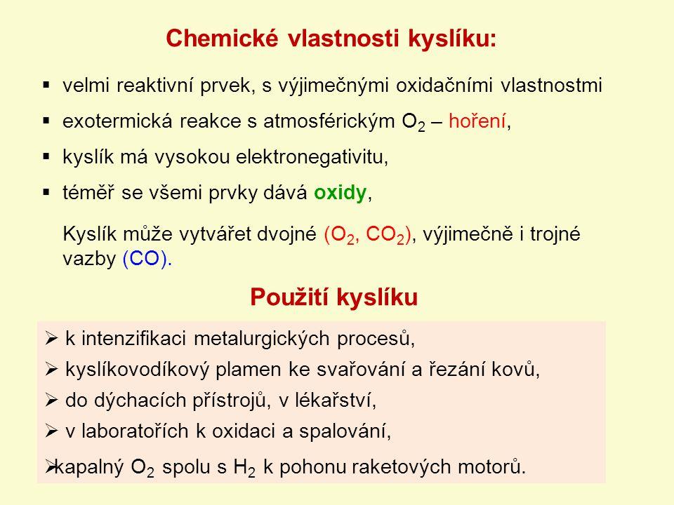 Chemické vlastnosti kyslíku: