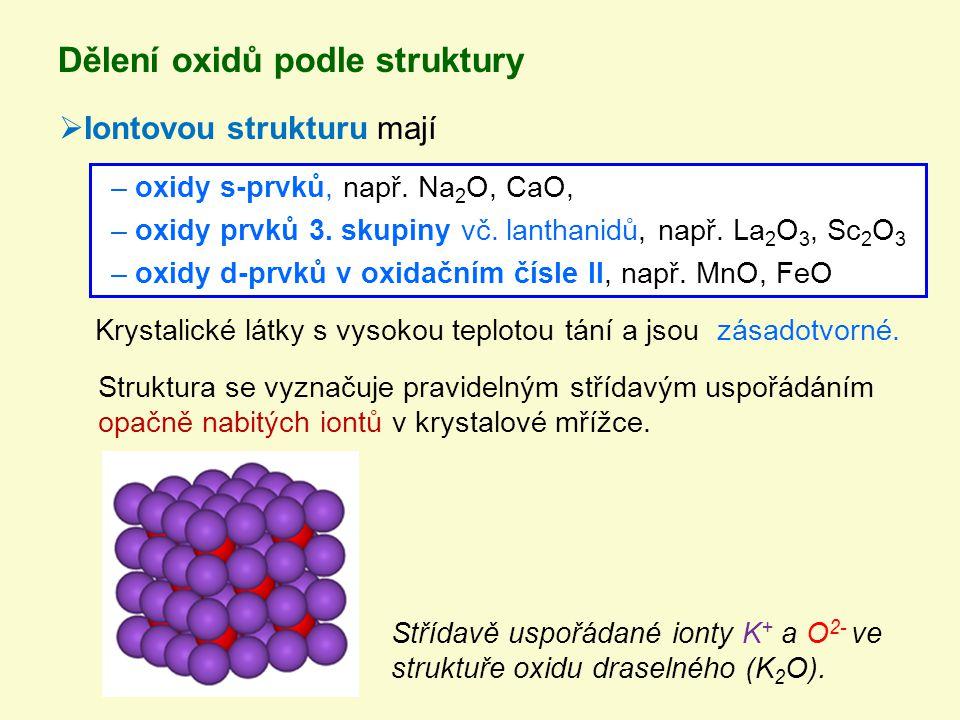 Dělení oxidů podle struktury