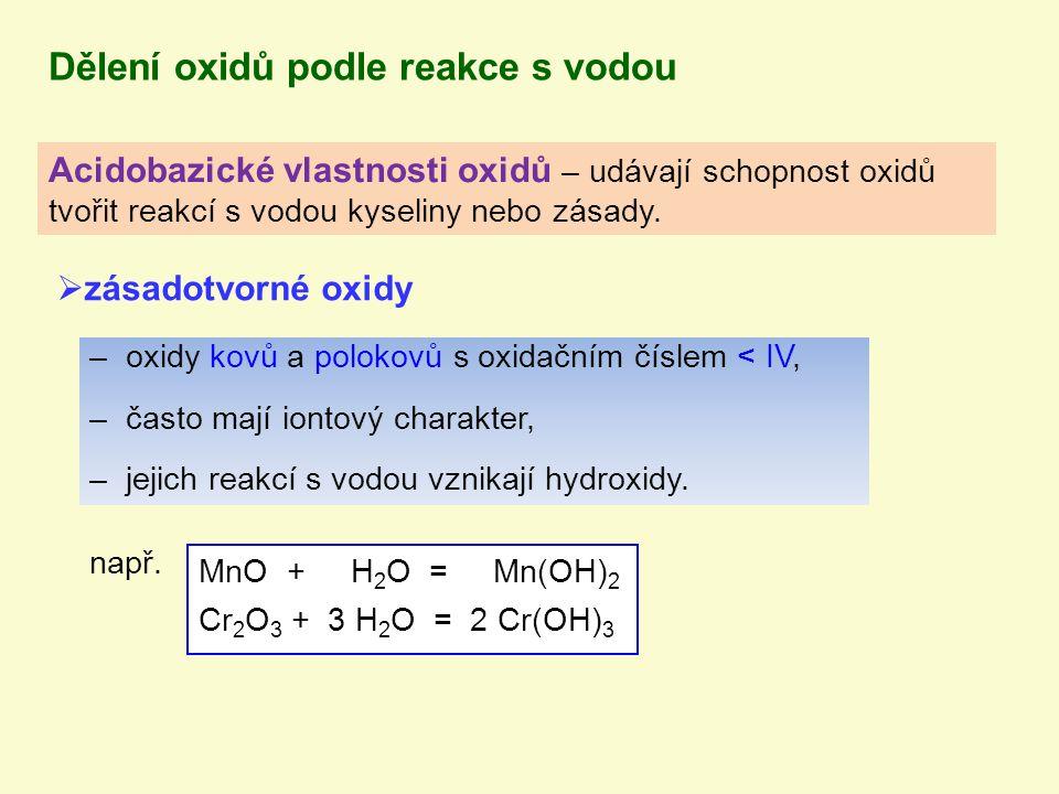 Dělení oxidů podle reakce s vodou