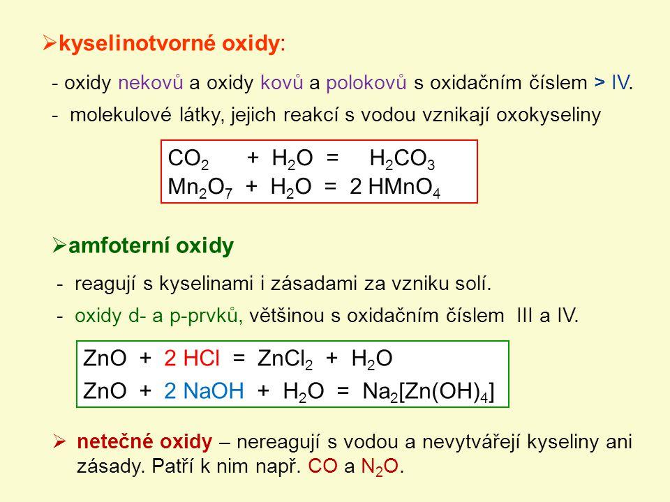 kyselinotvorné oxidy: