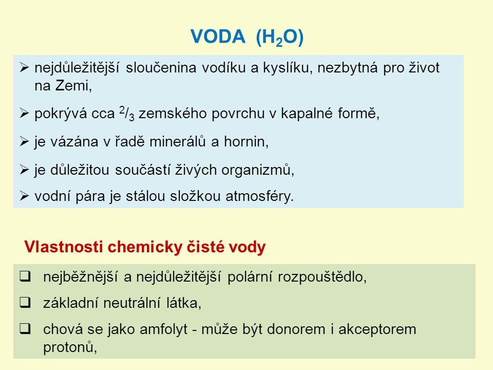 VODA (H2O) Vlastnosti chemicky čisté vody