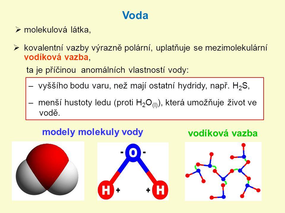Voda modely molekuly vody vodíková vazba molekulová látka,