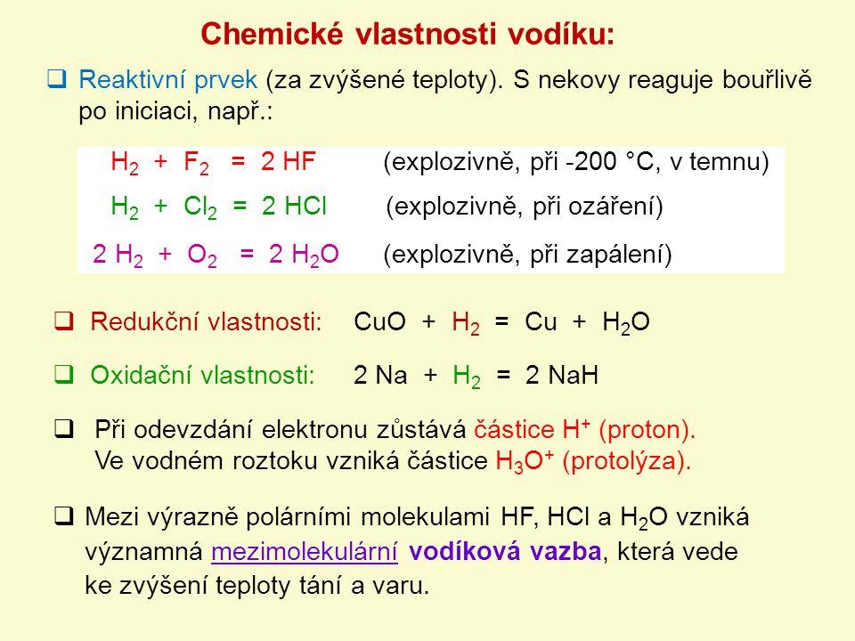 Chemické vlastnosti vodíku: