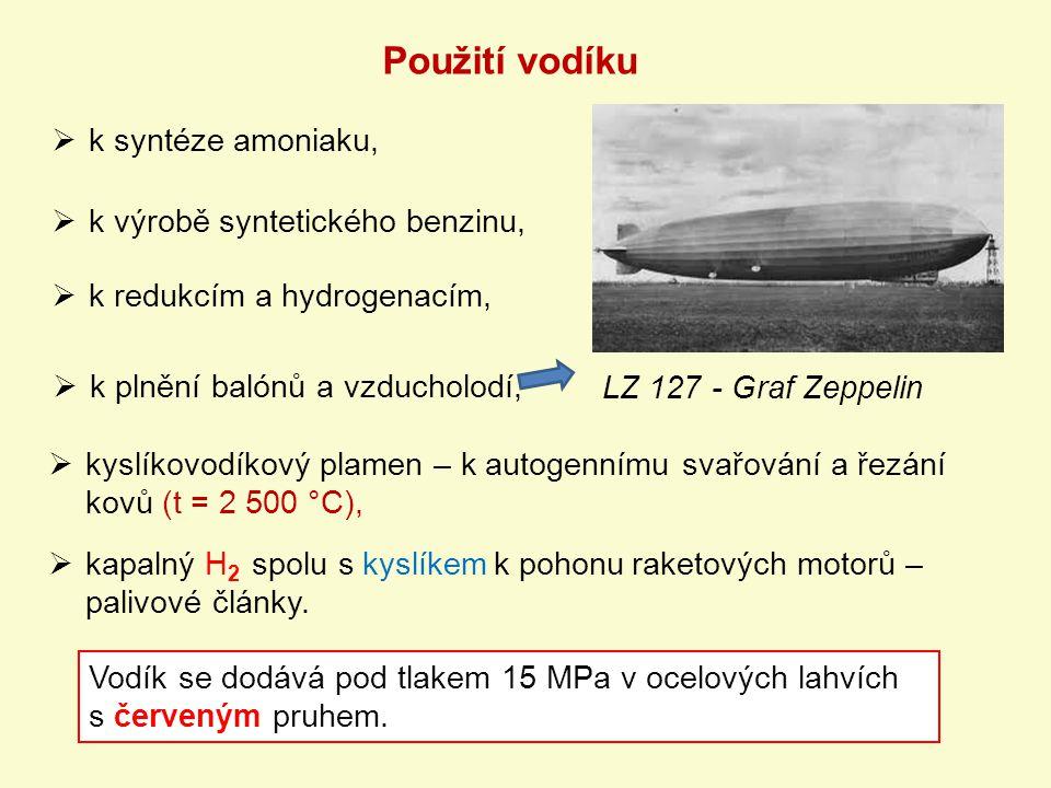 Použití vodíku k syntéze amoniaku, k výrobě syntetického benzinu,