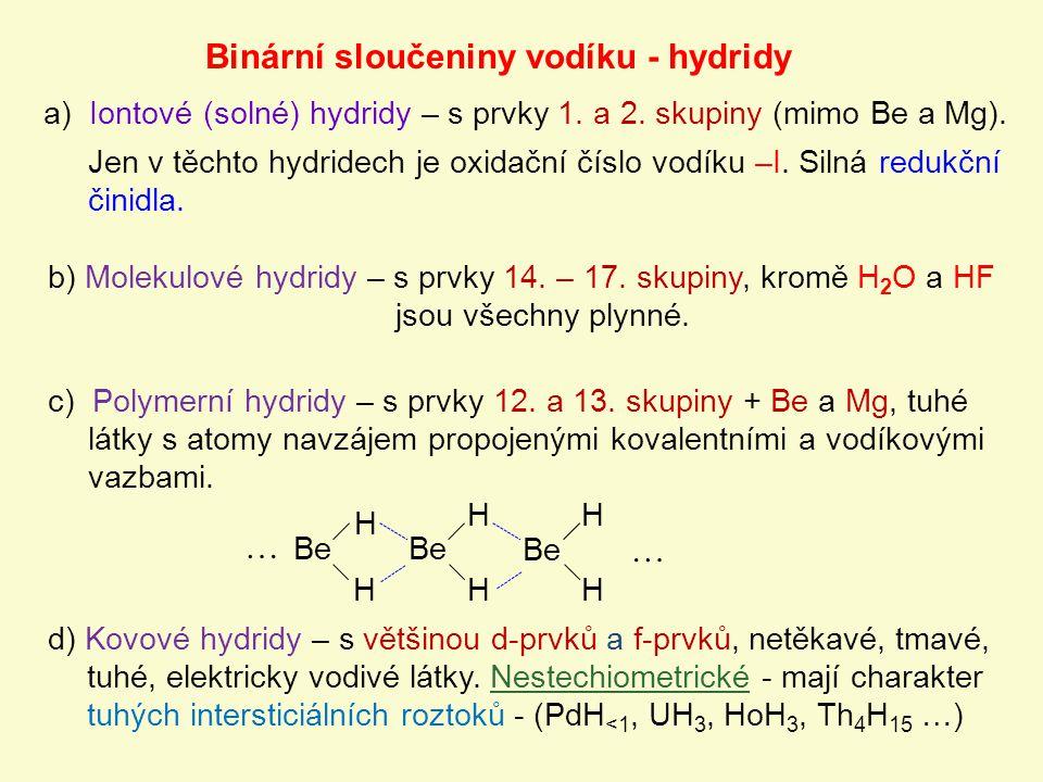 Binární sloučeniny vodíku - hydridy