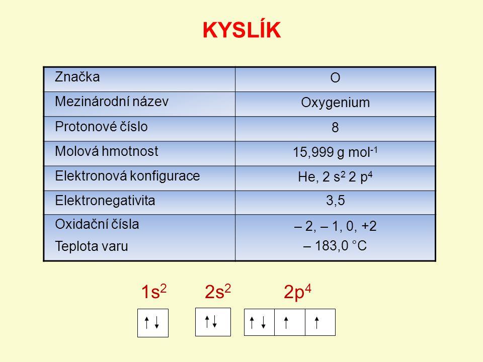KYSLÍK 1s2 2s2 2p4 Značka O Mezinárodní název Oxygenium