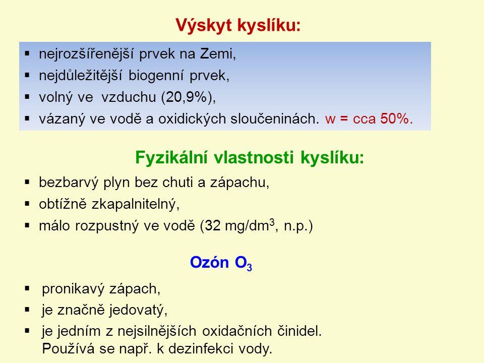 Fyzikální vlastnosti kyslíku: