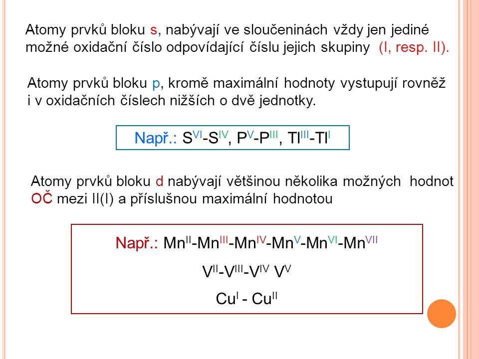 Např.: SVI-SIV, PV-PIII, TlIII-TlI