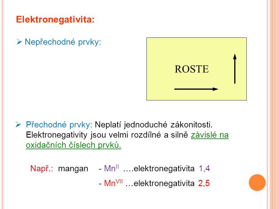 ROSTE Elektronegativita: Nepřechodné prvky: