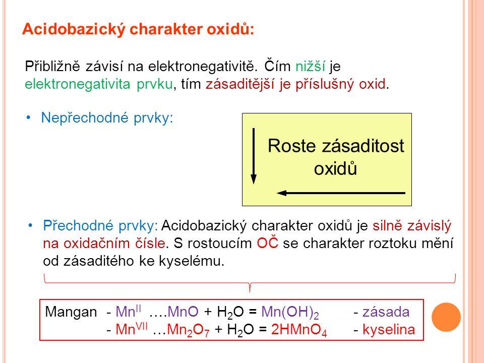 Acidobazický charakter oxidů: