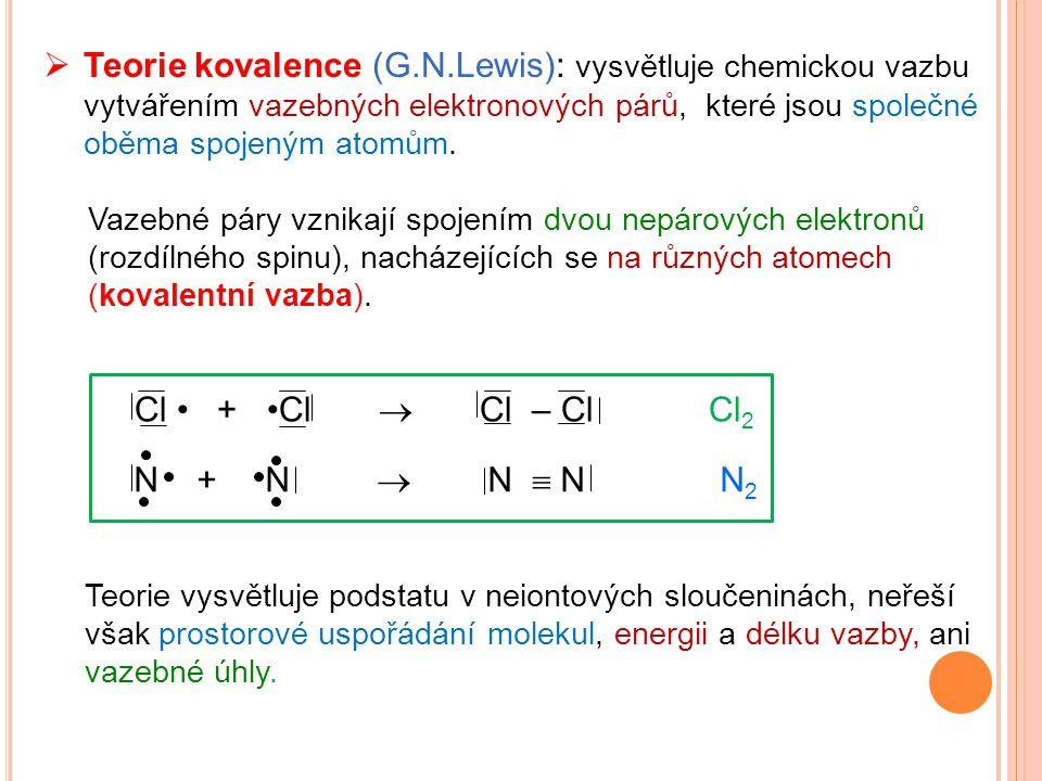Teorie kovalence (G.N.Lewis): vysvětluje chemickou vazbu vytvářením vazebných elektronových párů, které jsou společné oběma spojeným atomům.