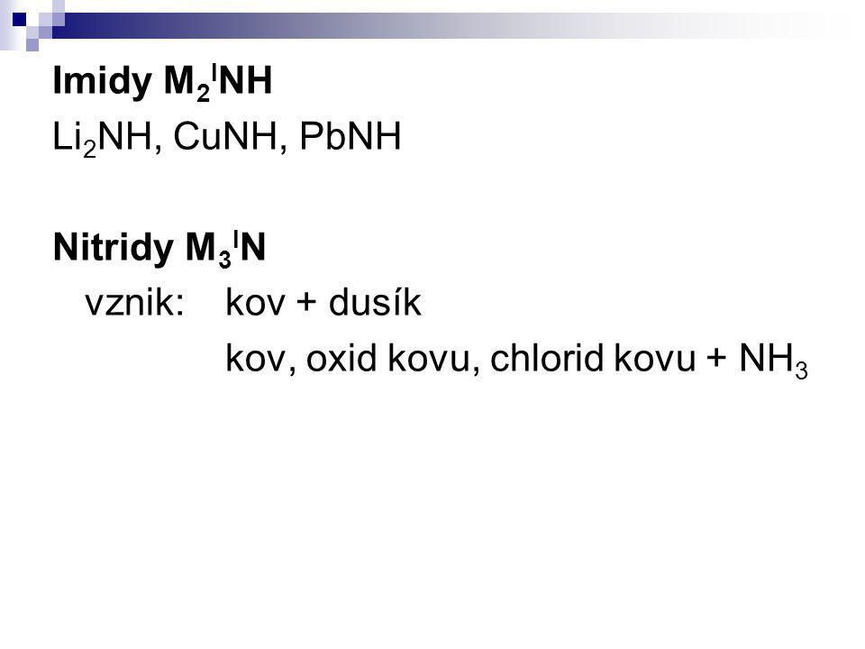Imidy M2INH Li2NH, CuNH, PbNH Nitridy M3IN vznik: kov + dusík kov, oxid kovu, chlorid kovu + NH3