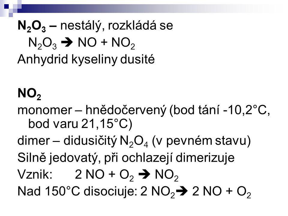 N2O3 – nestálý, rozkládá se