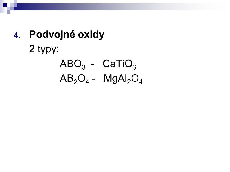 Podvojné oxidy 2 typy: ABO3 - CaTiO3 AB2O4 - MgAl2O4