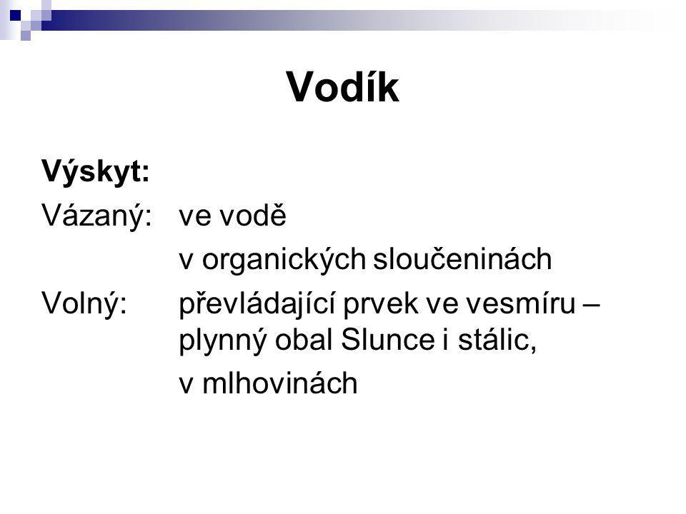 Vodík Výskyt: Vázaný: ve vodě v organických sloučeninách