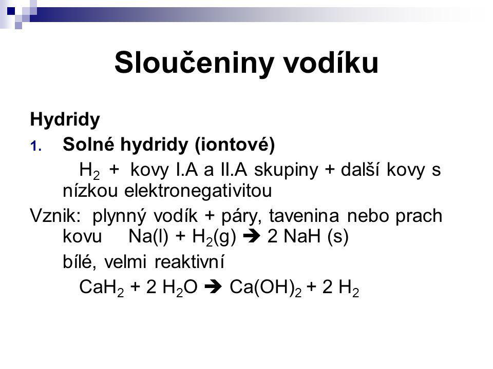 Sloučeniny vodíku Hydridy Solné hydridy (iontové)