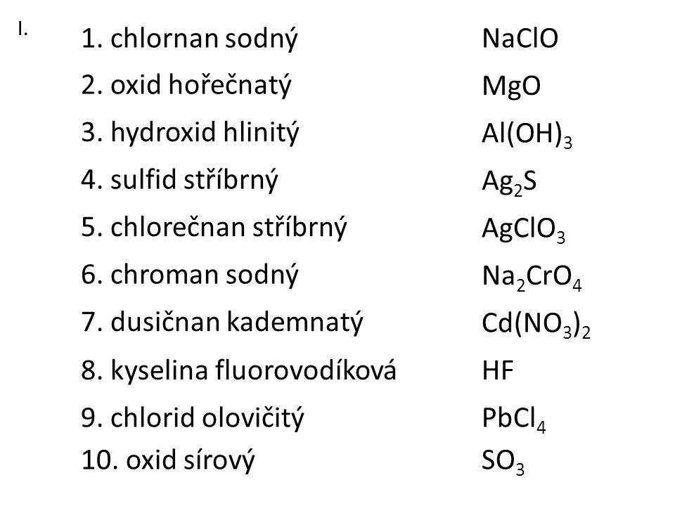 8. kyselina fluorovodíková HF
