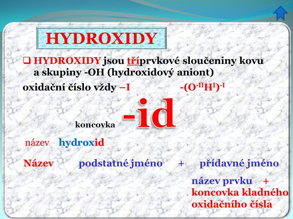 HYDROXIDY HYDROXIDY jsou tříprvkové sloučeniny kovu a skupiny -OH (hydroxidový aniont) oxidační číslo vždy –I -(O-IIHI)-I.