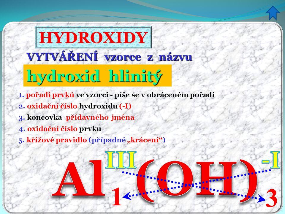 (OH) Al 1 3 III -I HYDROXIDY hydroxid hlinitý itý