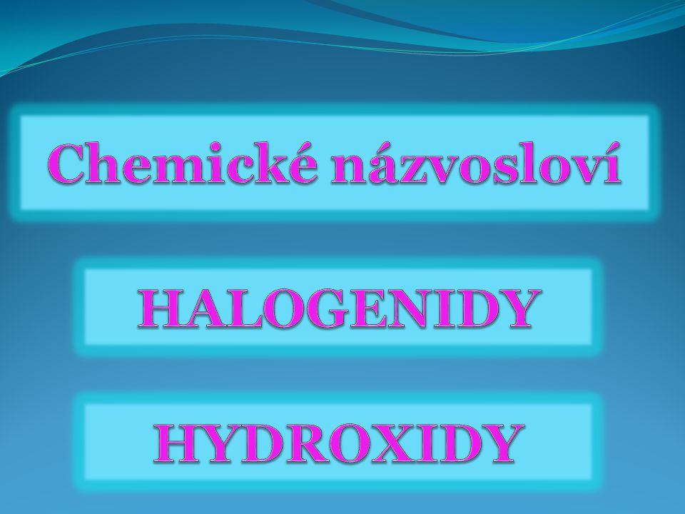 Chemické názvosloví Halogenidy hydroxidy