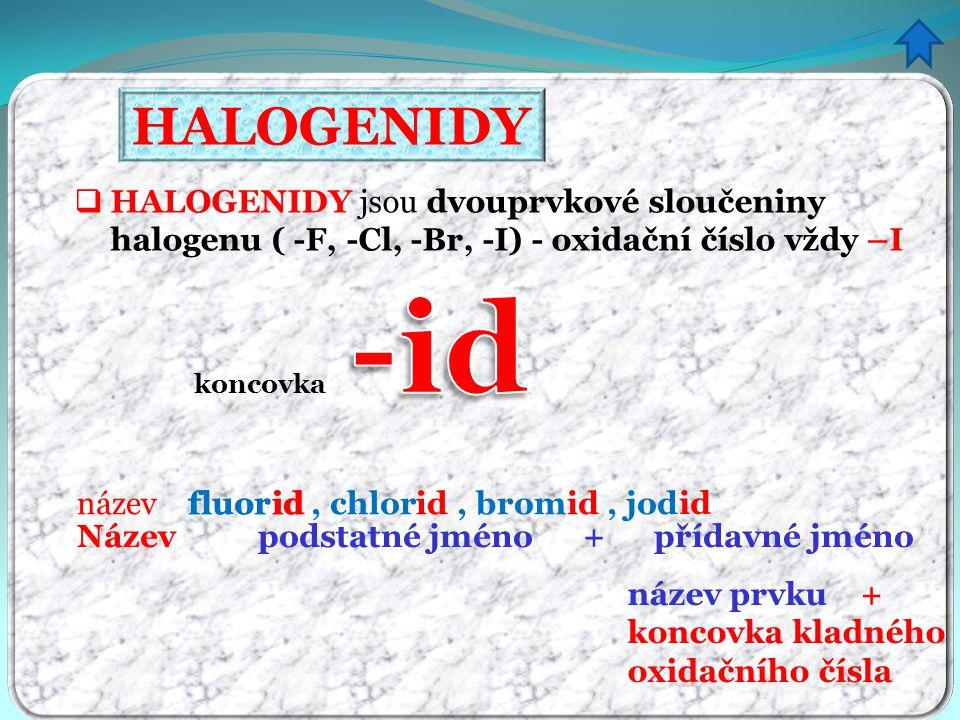 HALOGENIDY HALOGENIDY jsou dvouprvkové sloučeniny halogenu ( -F, -Cl, -Br, -I) - oxidační číslo vždy –I.
