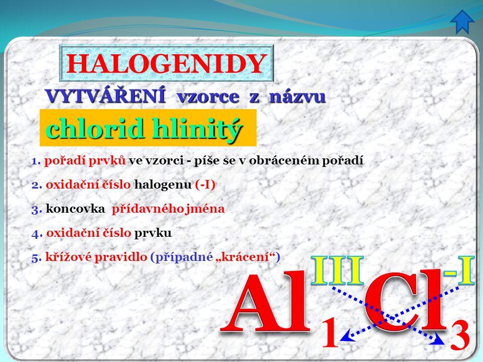 Cl Al 1 3 III -I HALOGENIDY chlorid hlinitý itý