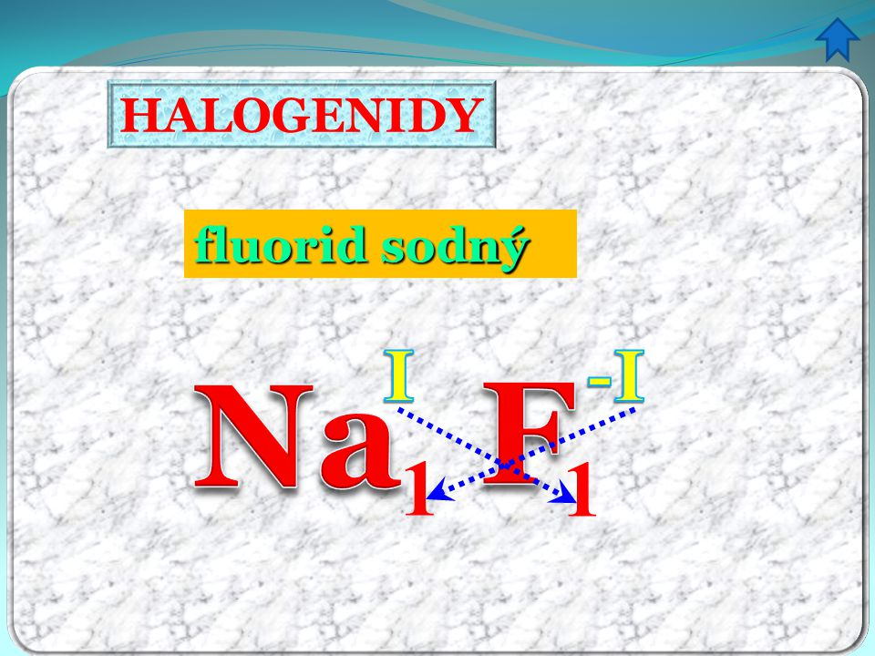 HALOGENIDY fluorid sodný ný I -I Na F 1 1