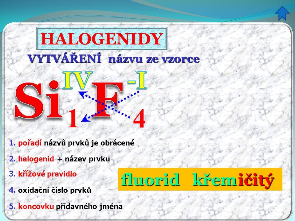 F Si 1 4 IV -I HALOGENIDY fluorid křem ičitý VYTVÁŘENÍ názvu ze vzorce
