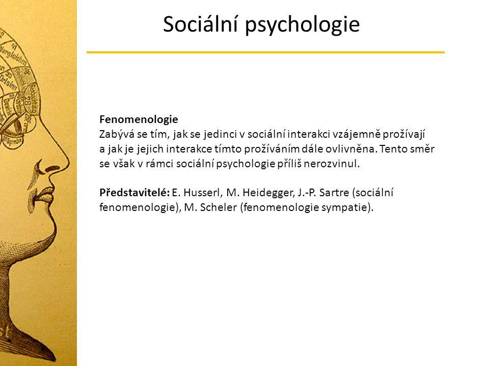 Sociální psychologie Fenomenologie