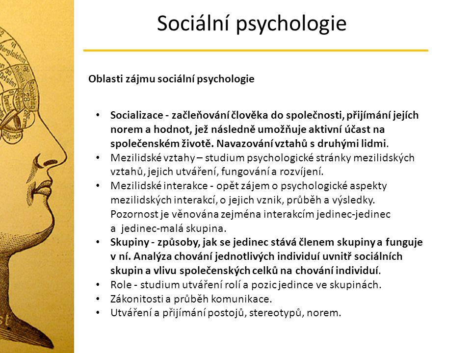 Sociální psychologie Oblasti zájmu sociální psychologie