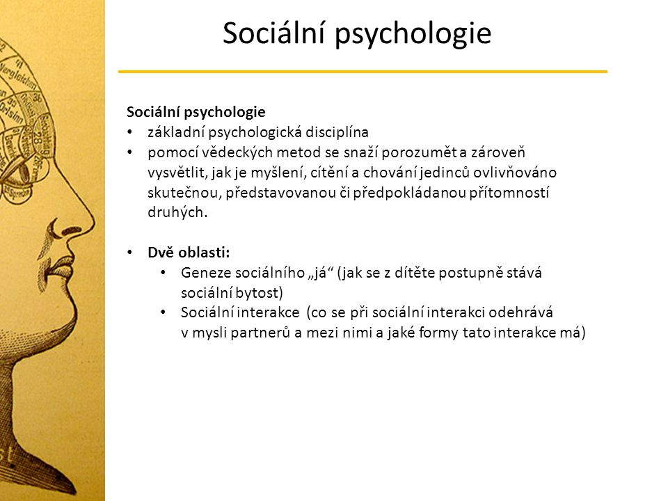 Sociální psychologie Sociální psychologie