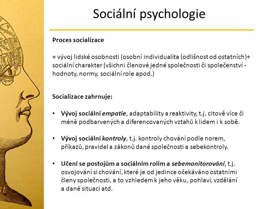 Sociální psychologie Proces socializace