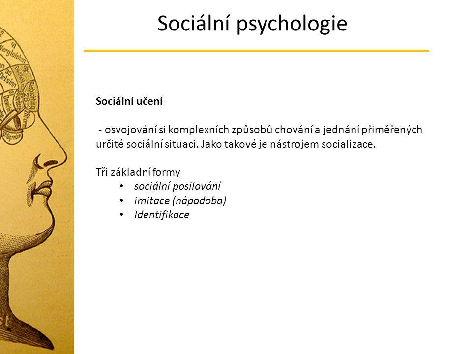 Sociální psychologie Sociální učení