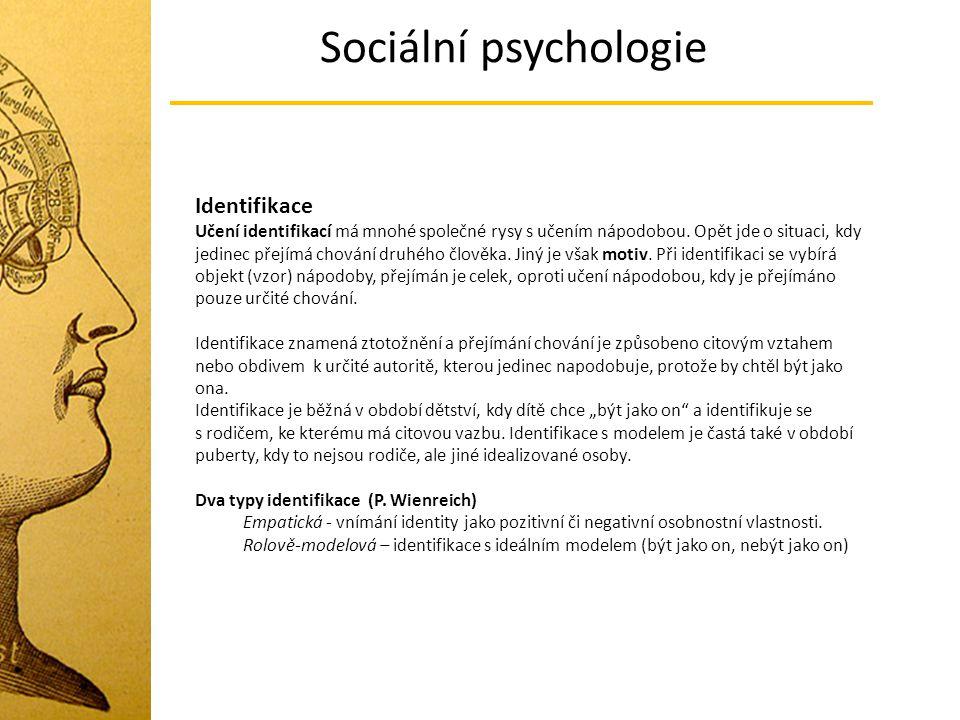Sociální psychologie Identifikace